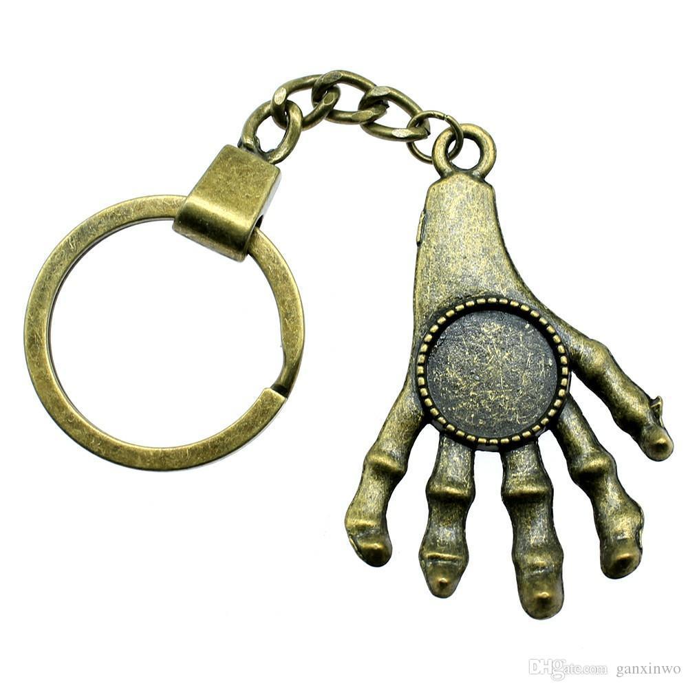 6 조각 키 체인 열쇠 고리 핸드 싱글 사이드 내부 크기 14mm 라운드 카보 숑 카메오 자료 트레이 베젤 블랭크와 자동차 열쇠 고리를 들어 여성 열쇠 고리를