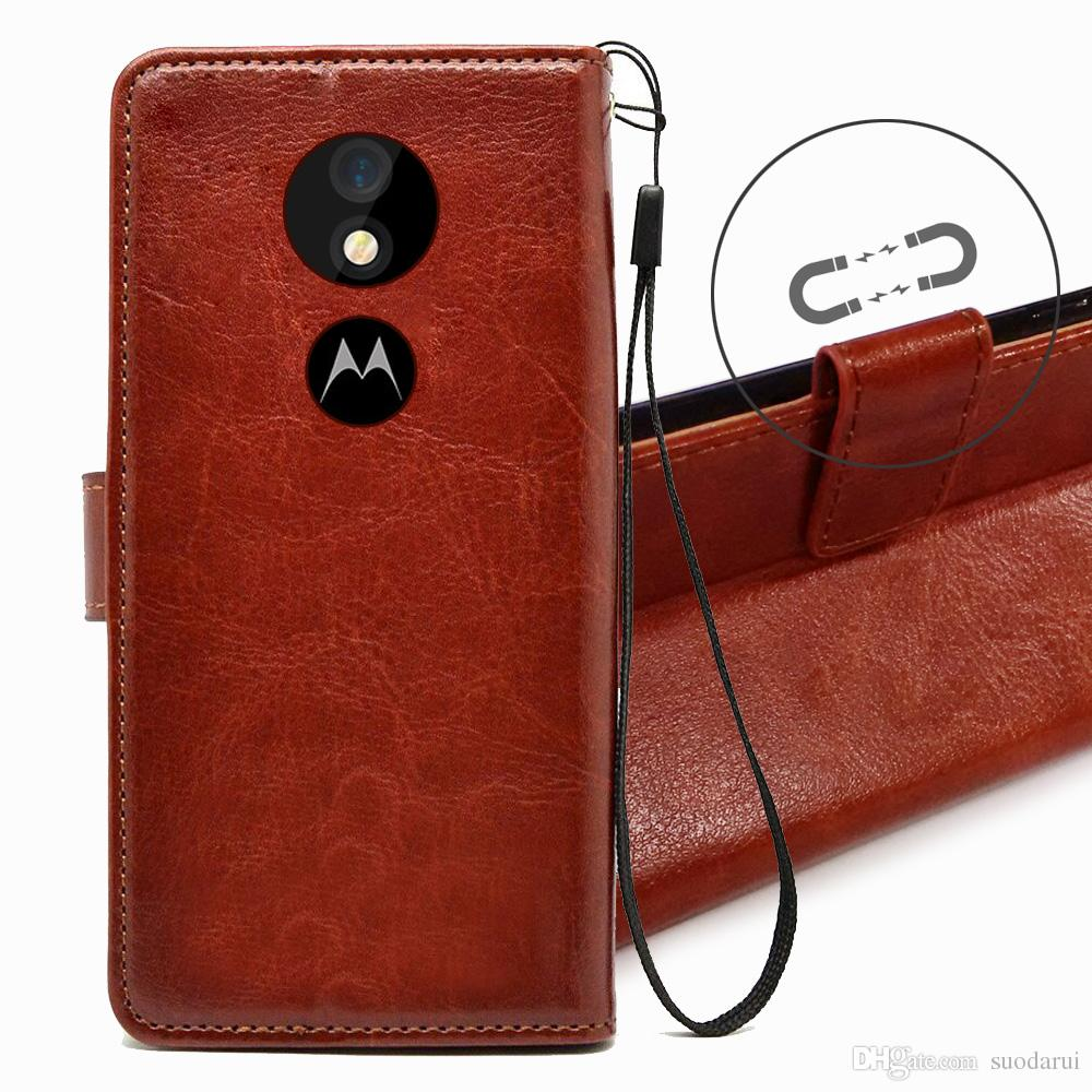 buy popular 6769d fa45b Flip Leather Case For Motorola Moto G6 Play PU + TPU Leather Magnetic Book  Wallet Cover Pouch With Lanyard Uncommon Cell Phone Cases Customize Cell ...