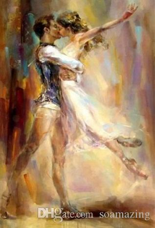 High Quality Razumovskaya Man woman Dancing kiss Ballet,Handmade Portrait Art Oil Painting On Canvas For Wall Decor Multi Sizes / Frame