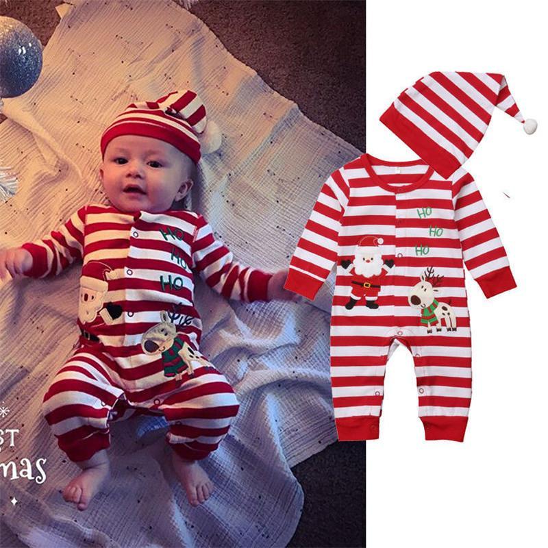 Полосатый Рождество ползунки новорожденных хлопок одежда мальчик девочка Рождество ползунки комбинезон шляпа 2 шт. одежда наряд Y18102907