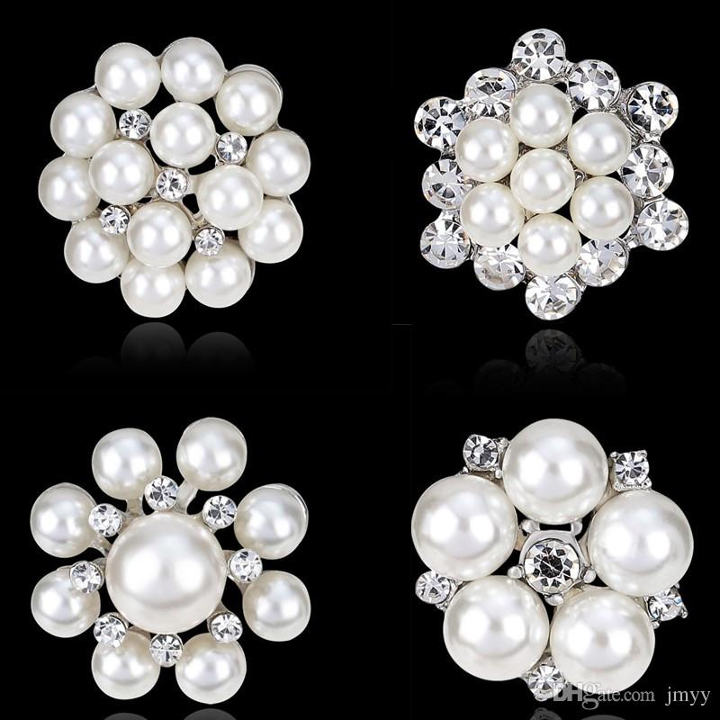 2019 New Bride Fashion White Imitation Pearl Brooches Rhinestone Flower Gold Silver Wedding Brooches For Gift