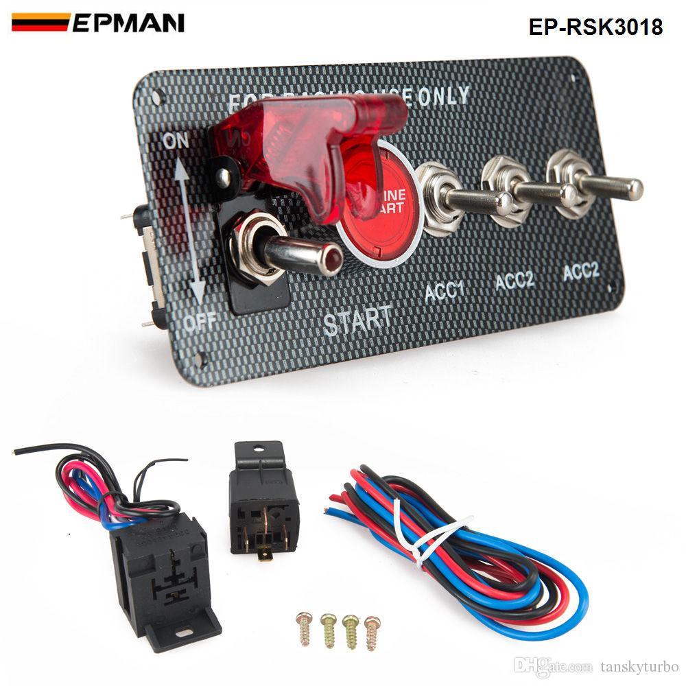 EPMAN - 4-in-1-Rennwagen-Motorstartkit mit Kippschalter aus Kohlefaser EP-RSK3018