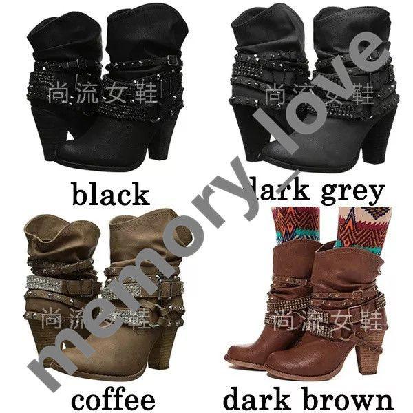 Ankle Rivet Boots Retro Winter Ladies High Heels Casual Fashion Womens Rivet Buckle Belt Ankle Boots Block Low Heel Motor Shoes Black Leathe