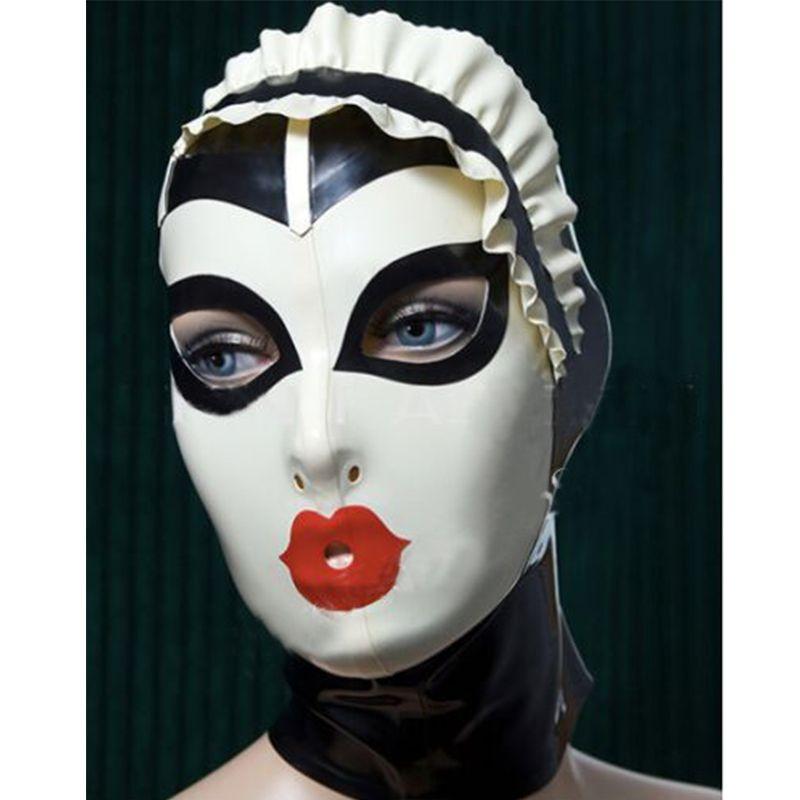 Nuove donne sexy fatti a mano su misura in lattice cosplay cameriera cappe colore caldo fetish maschera eroina maschera femminile copricapo zentai