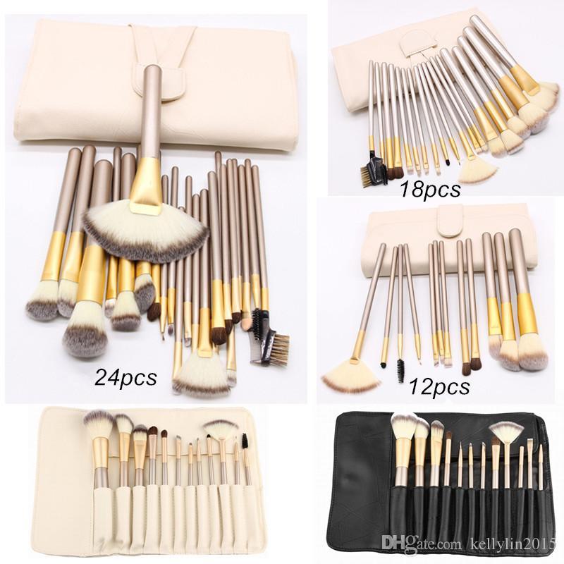 Professional Makeup Brushes Sets 12 18 24 pcs White Black Eyeshadow Blush Lip Brush Multipurpose Full Make Up Brushes Kit with Leather Bag