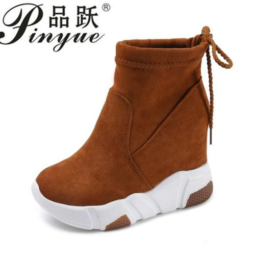 Women Ankle Boots Platforms Shoes Woman High Heels Inside Height Increasing Faux suede Boots Lace up Sneakers 35-39