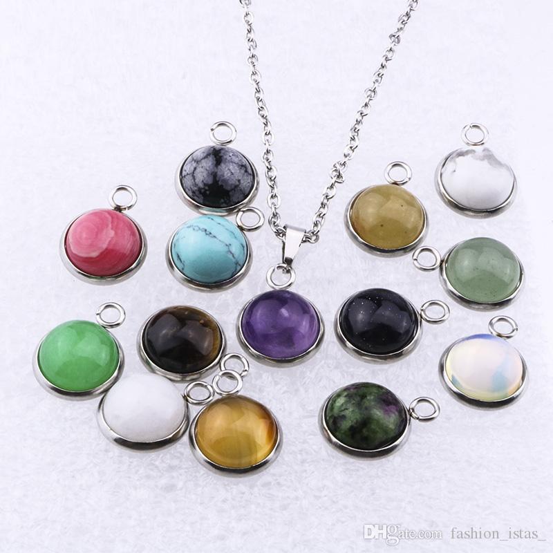 10mm 12mm collar de piedra natural de acero inoxidable 12mm collar de cristal de ópalo rosado redondo para la joyería de las mujeres