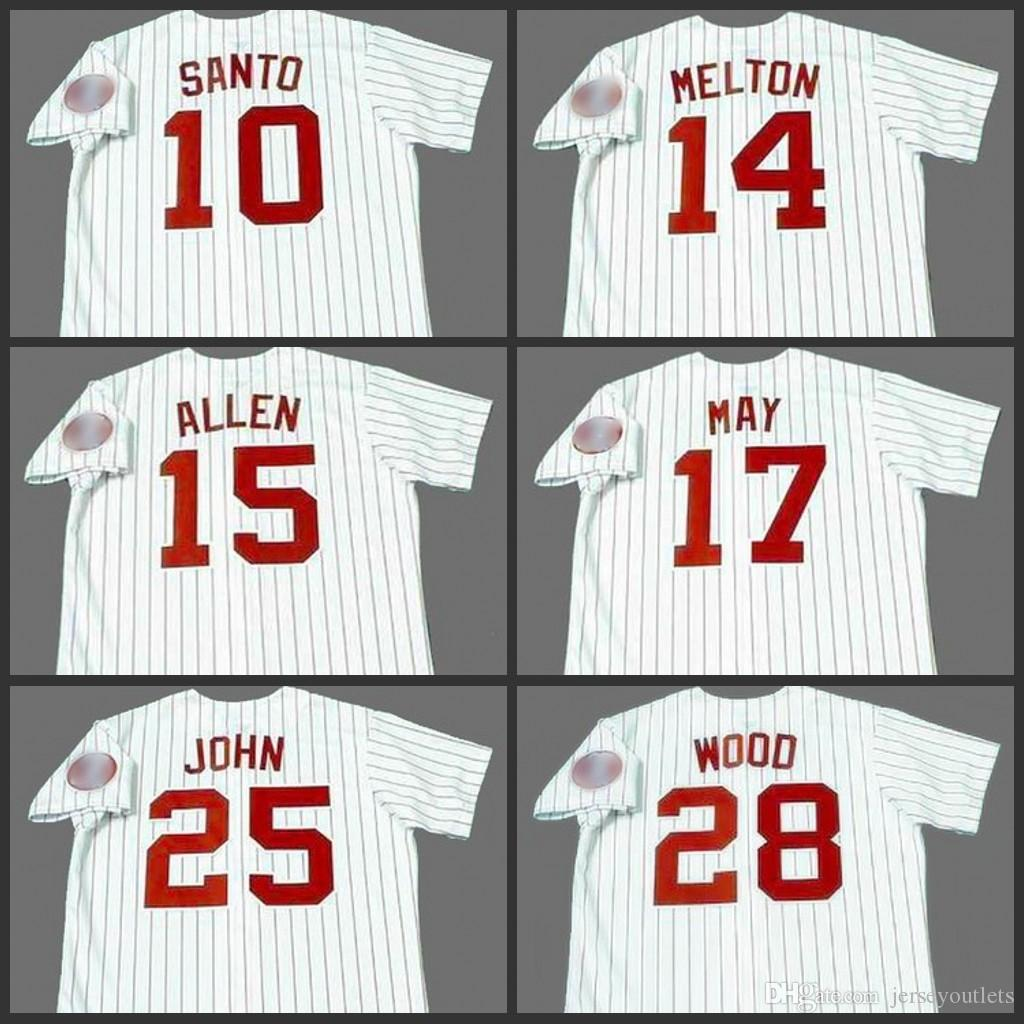 Chicago 17 CARLOS 28 de maio Wilbur Wood 10 SANTO 25 JOHN 15 RICHIE ALLEN 14 Bill Melton jérsei de basebol costurado