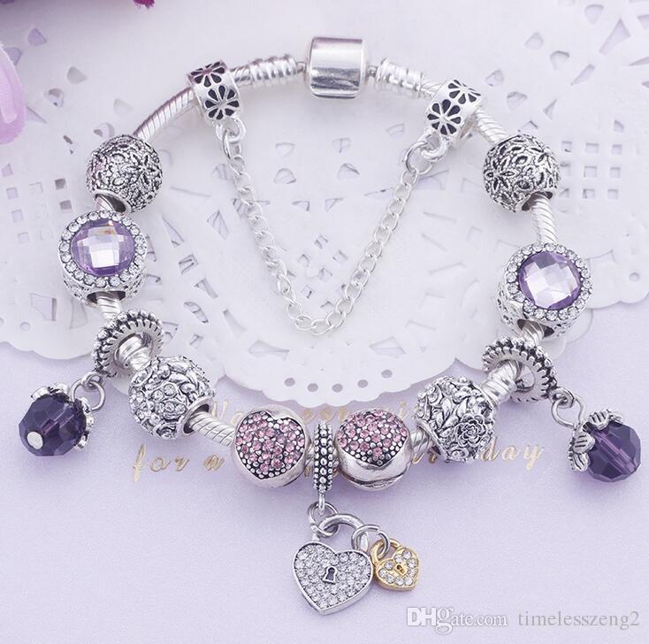 1 PCS mulheres elegantes ametista pulseira brilhante liga pingente de pulseiras para o presente mãe agradável Dia das Mães navio livre 8 estilo
