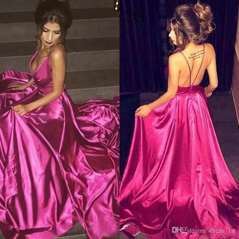 2017 Sexy Fuchsia Dubai Prom Dresses Lungo economici Spaghetto Criss Cross Back Abiti formali Party Evening Wear EN12122