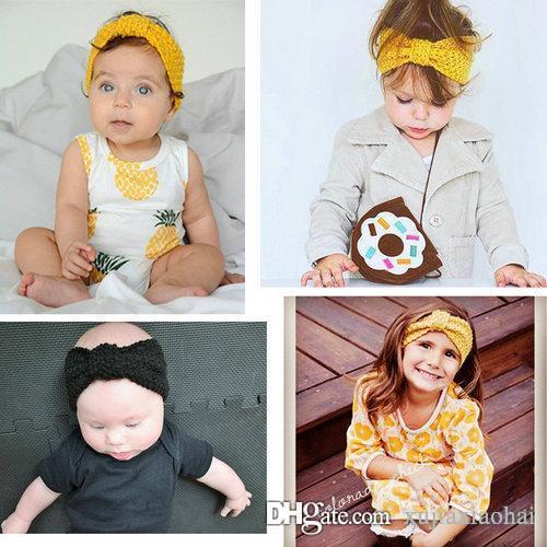 패션 13 색 귀여운 Boho 스타일 양모 니트 소녀 머리띠 겨울 부드러운 아기 귀걸이 헤어 액세서리