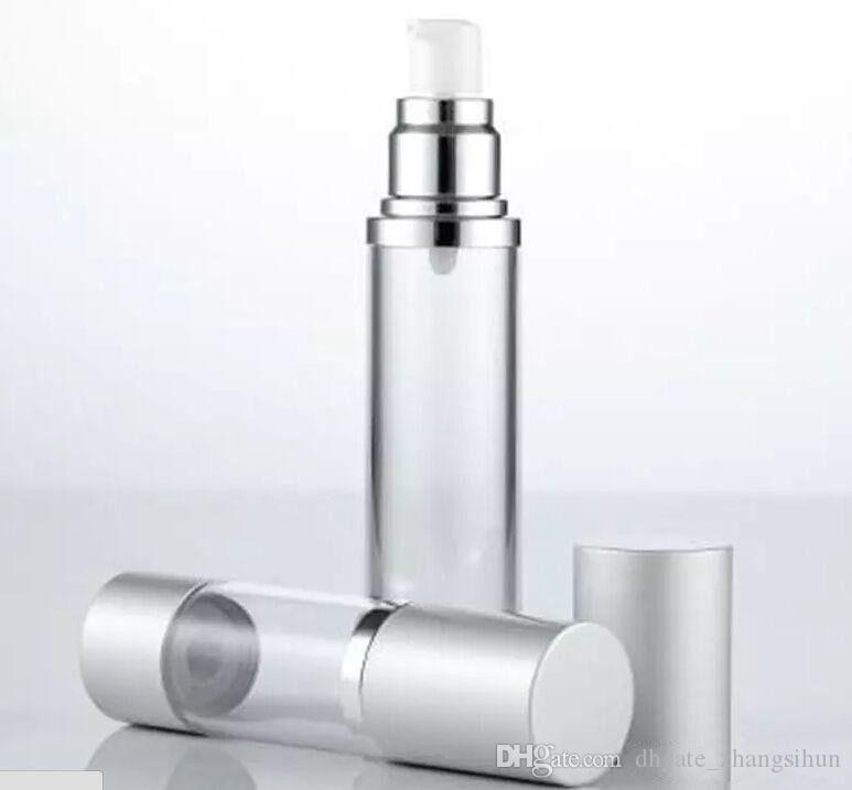 30 мл 50 мл безвоздушного флакон духов косметическая вакуумная колба Серебряный насос бутылка высокое качество эмульсия флакон сущность флаконы