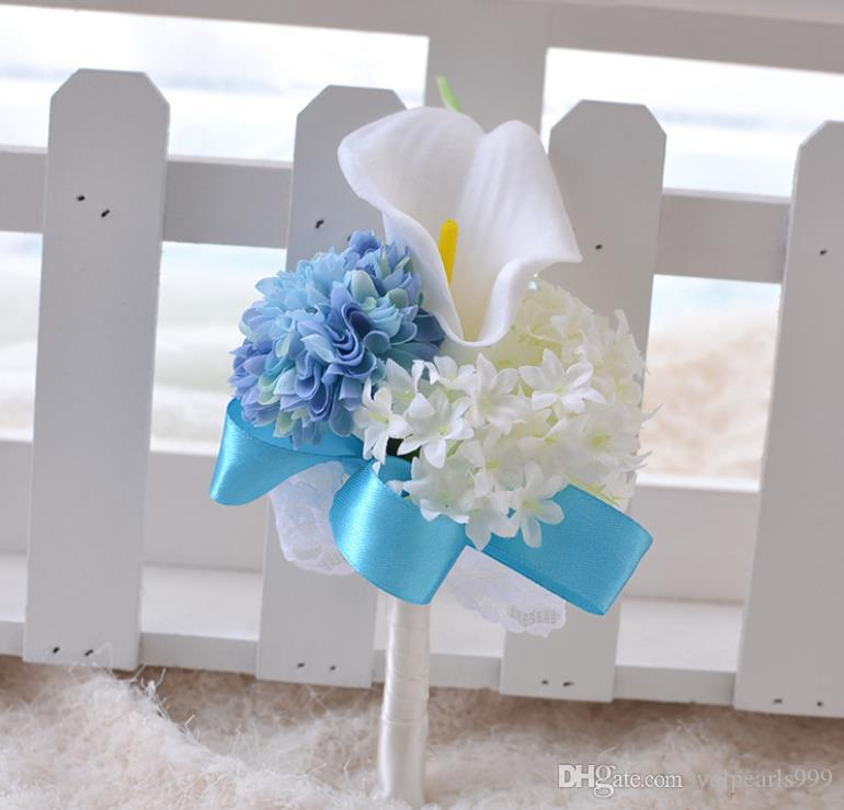 Вечные украшения венчания Ангела, броши, голубые цветки запястья руки