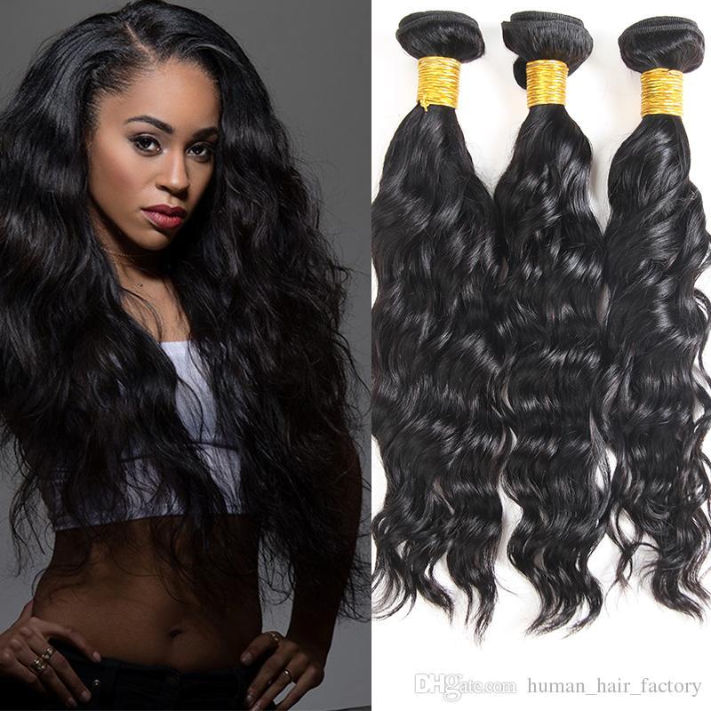 Visón Brazilian Hair Bundles tramas Indian peruano onda de agua extensión del cabello 100% sin procesar baratos brasileños paquetes de cabello humano teje