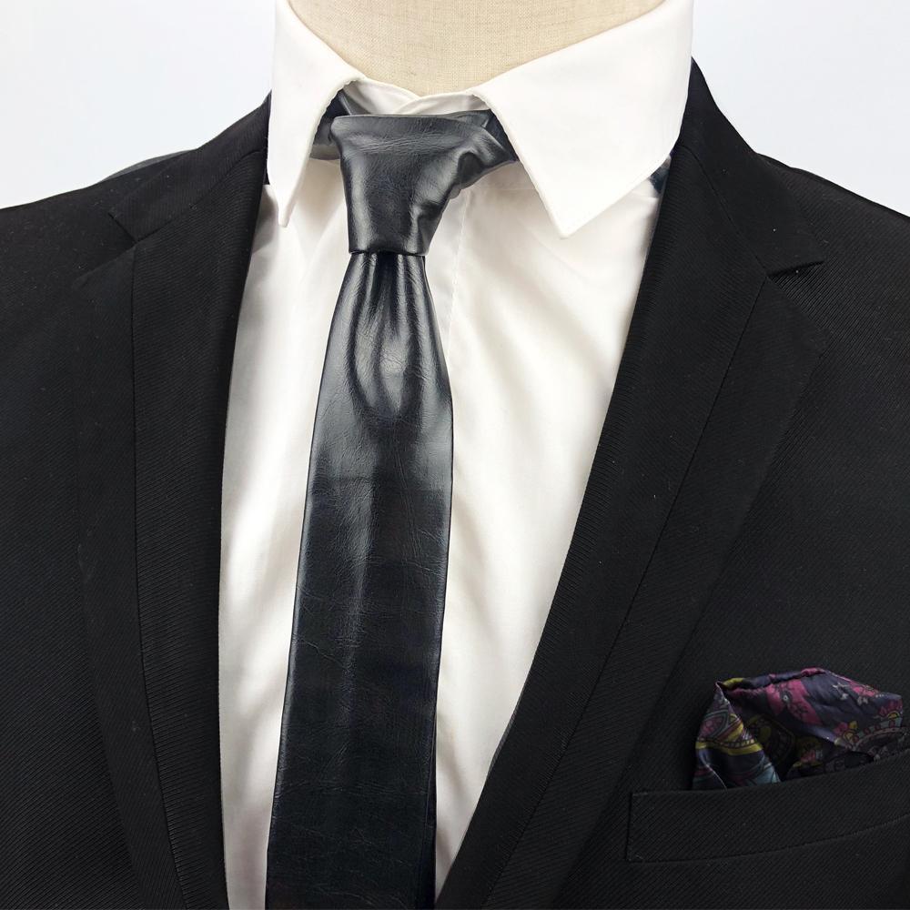 2018 nouvelle cravate en cuir pu 5 couleurs noir marron bleu luxe cravates mince pour hommes la mode cravate maigre gravata cravate étroite de marque