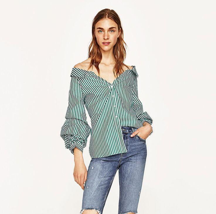 الخريف النساء قمصان فضفاضة عارضة البلوزات مثير قبالة الكتف blusas مائل العنق طويل الأكمام أزرار شريطية القمم