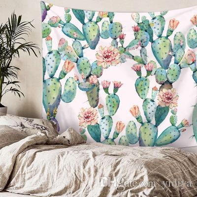 2 Tamaño mandala Colgante de pared Tapiz de cactus Suculentas verdes Arte de la flor 3D Manta de la alfombra Estera de yoga Tapete decorativo para el hogar