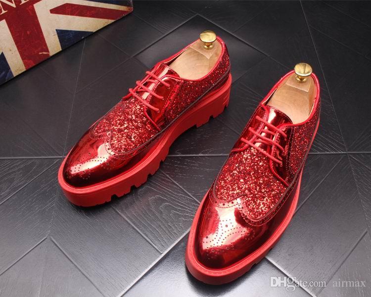 Nouvelle Arrivée De Luxe Hommes Rouge Brouge Chaussures De Mode Avant Designer Glitter Bling Homme Tendance Loisirs Chaussures Épaisse En Bas 43