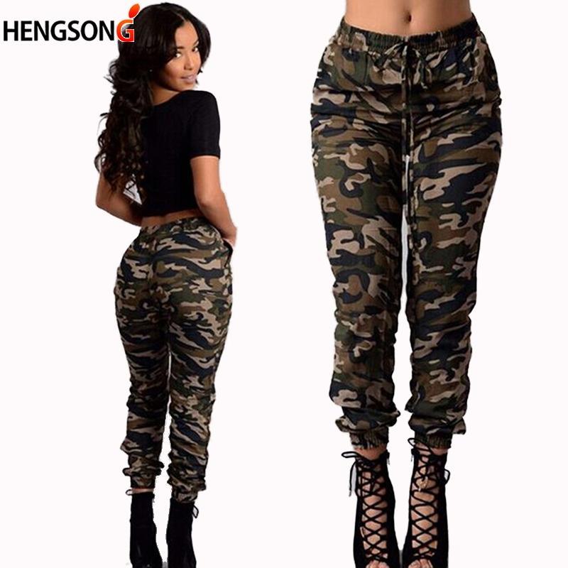 Kadın Kamuflaj Pantolon Pantolon 2017 Moda Ince Spor Pantolon Kadın Elastik Bel Işın Cepler Eğlence Uzun Pantolon 829660