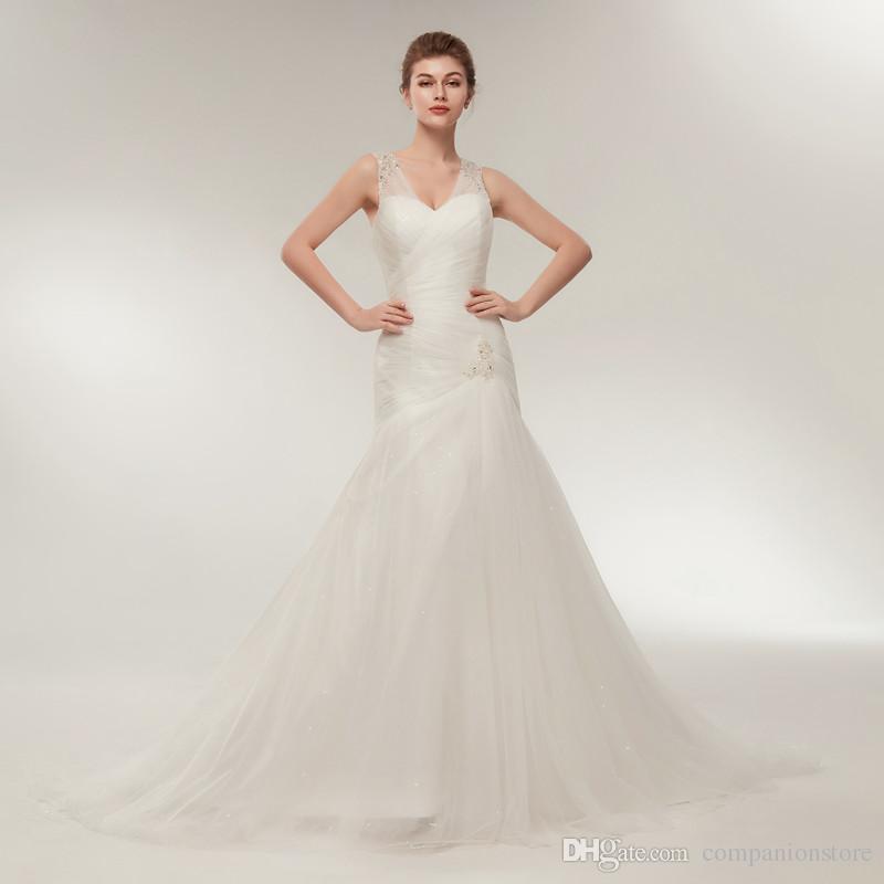 Elegant Tulle Wedding Dress Deep V-Neck with Crystal Sequined ...