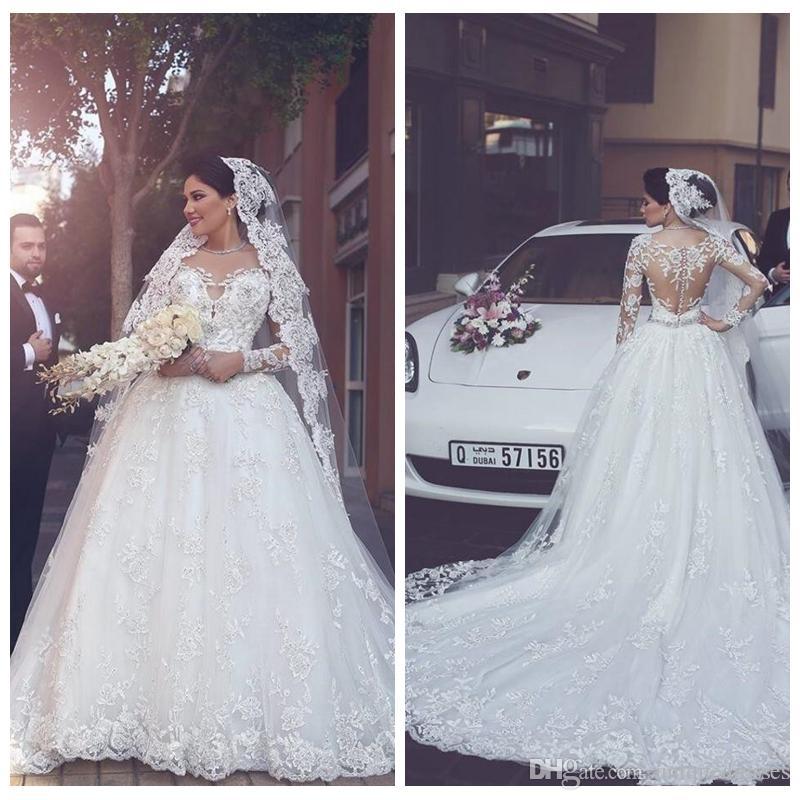 Abiti da sposa in pizzo arabo 2018 Appliques Beads Un pulsante coperto linea posteriore pura sexy abiti da sposa a maniche lunghe primavera