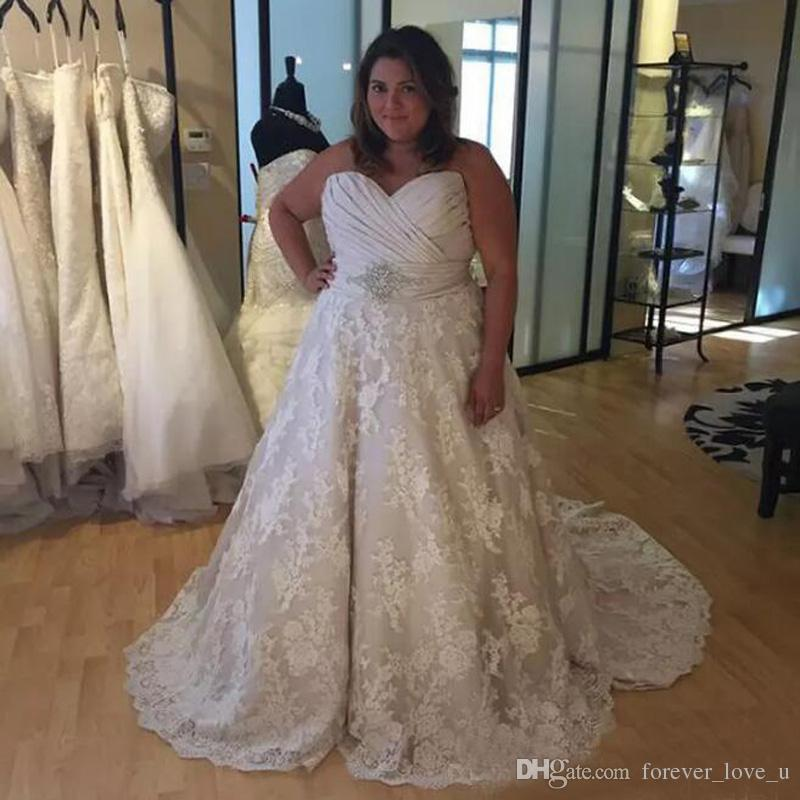 Gorgeous Plus Size A-line Wedding Dress Ruched Top Lace Skirt Sleeveless Custom Made Bridal Gowns with Crystals Court Train