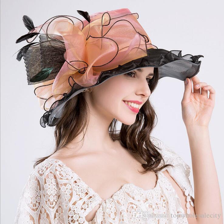 Alta calidad de moda gasa de malla de ala ancha sombreros estilo europeo mujeres elegante sombrero del sol fiesta de viaje sombrero ceremonial