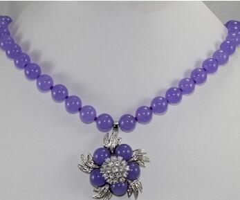 Colgante de Jades púrpura + collar de flores de 18 pulgadas de la señora del envío gratis