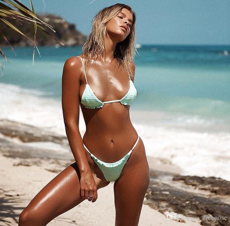 Heißer Verkauf bikini 2018 bademode frauen Bandage Bikini Sets Push Up Bh Badeanzug Niedrige Taille Zerknitterte Badeanzug Brasilianische Biqui Schwarz Badeanzug