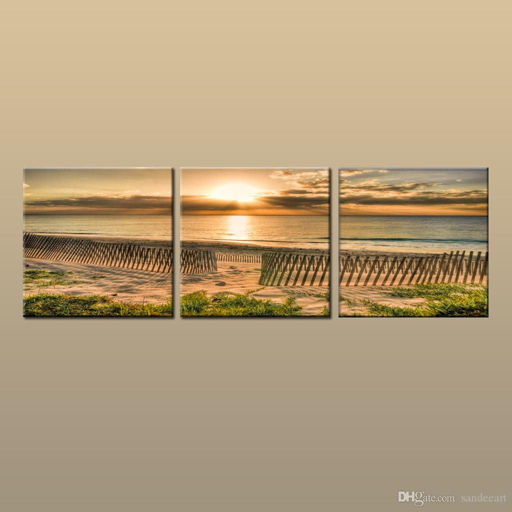 Framed/Unframed Hot Modern Contemporary Canvas Wall Art Print Painting Beach Sunset Seascape Picture 3 piece Living Room Home Decor ABC246