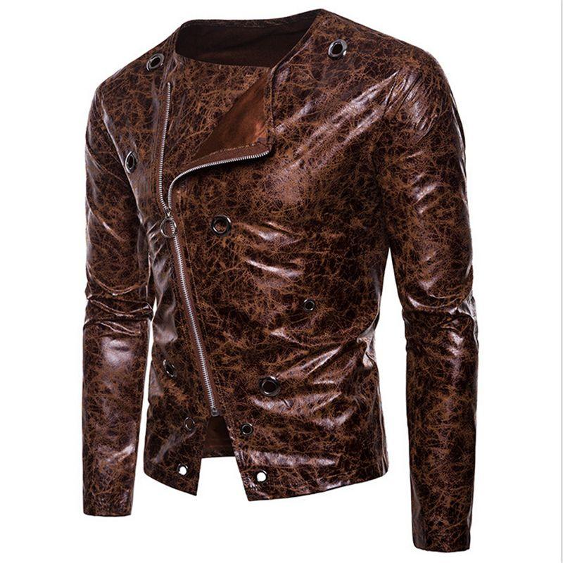 PU Leather Jacket Men 2018 Autumn Casual Zipper Up Men Motorcycle Leather Jacket Winter Male Coat Plus Size XXL