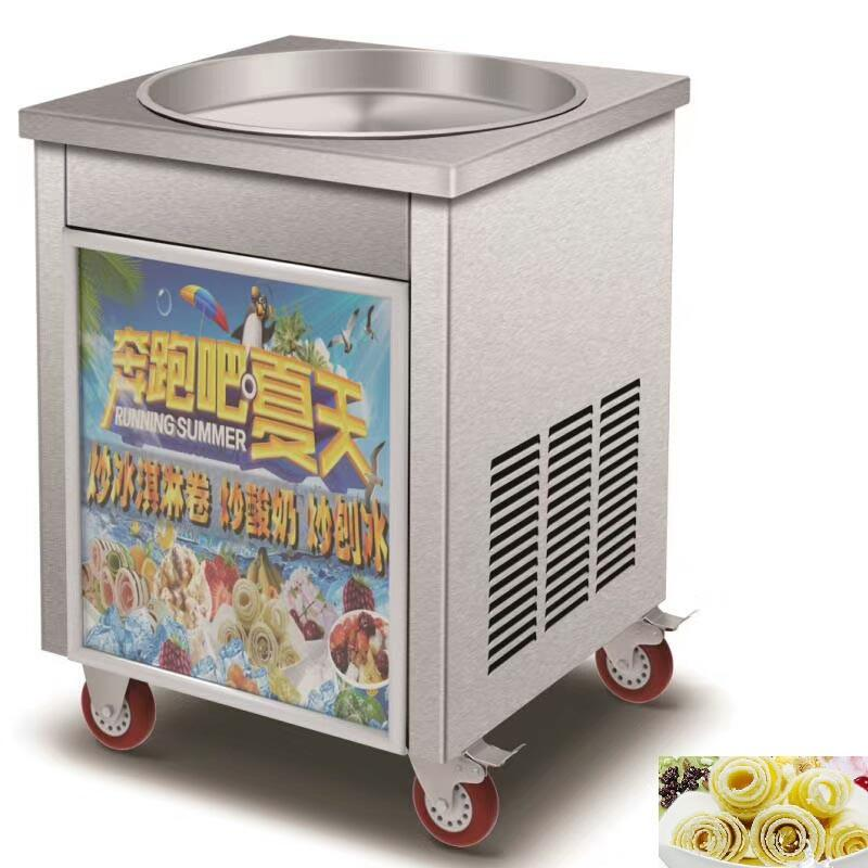 BEIJAMEI Electric Thai Fried Gelato Rolls Machine Commerciale 50cm Diametro Grandi teglie rotonde Fried Rolled Ice Cream Machine