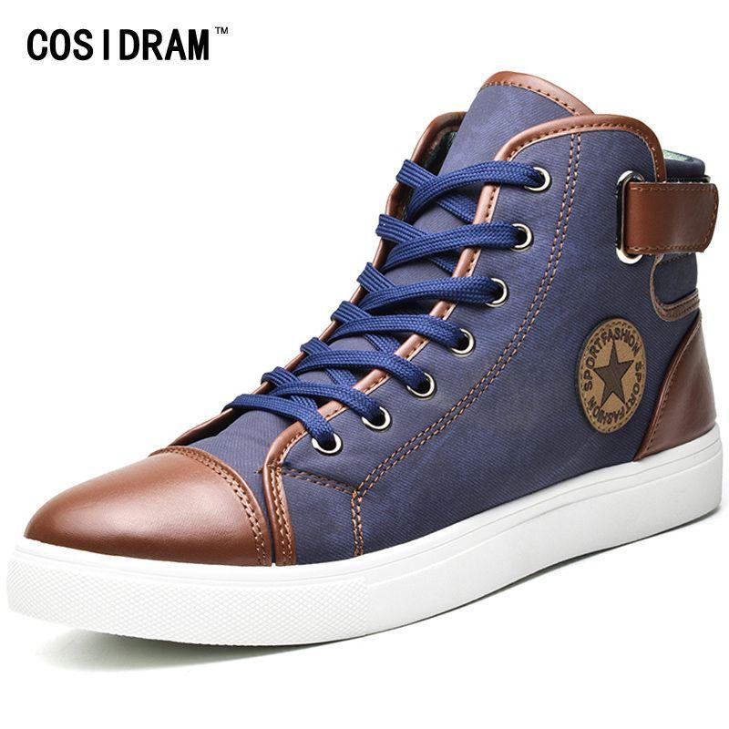 Cosidram الأزياء عالية أعلى الرجال الأحذية قماش الرجال عارضة الأحذية لخريف الشتاء الذكور الأحذية خليط زائد الحجم 45 46 47 RMC-165