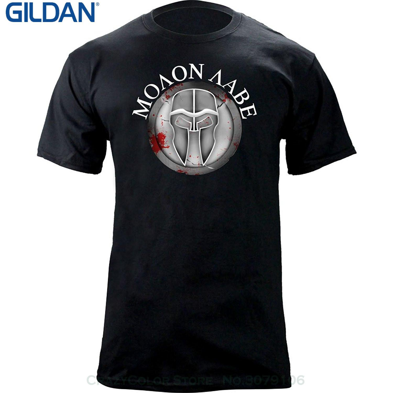 Wholesale discount 2019 Summer New Brand T Shirt Men Hip Hop Men T shirt Casual Fitness Molon Labe Ancient Shield T shirt