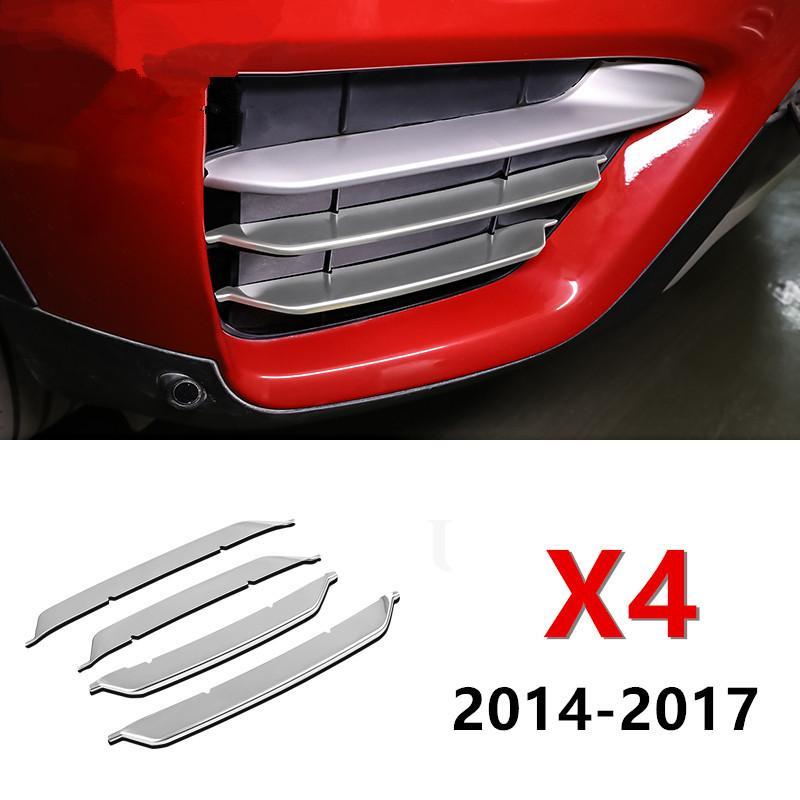 Avant 4pcs en acier inoxydable Phares antibrouillard Garniture décorative bande Accessoires extérieurs Sequin Sticker pour BMW X4 2014-17 Car Styling