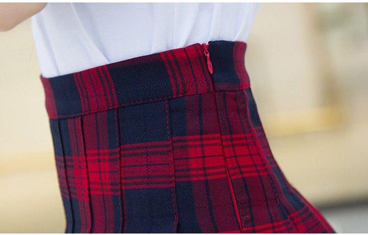 Fashion Summer Skirt Women 2018 Ete Skirts Casaul Pleated Ladies Skirts High Waist Mini Skirt Female Skirt Plaid Saia Jupe Femme (17)