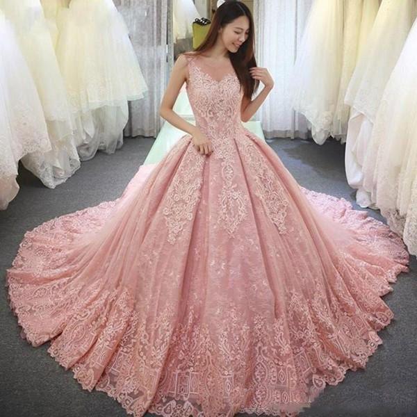 2018 de lujo vestido de bola Vestidos de quinceañera rosado escarpado barrida de cuello apliques sin respaldo dulce 16 Vestidos de tren vestidos de baile con encaje