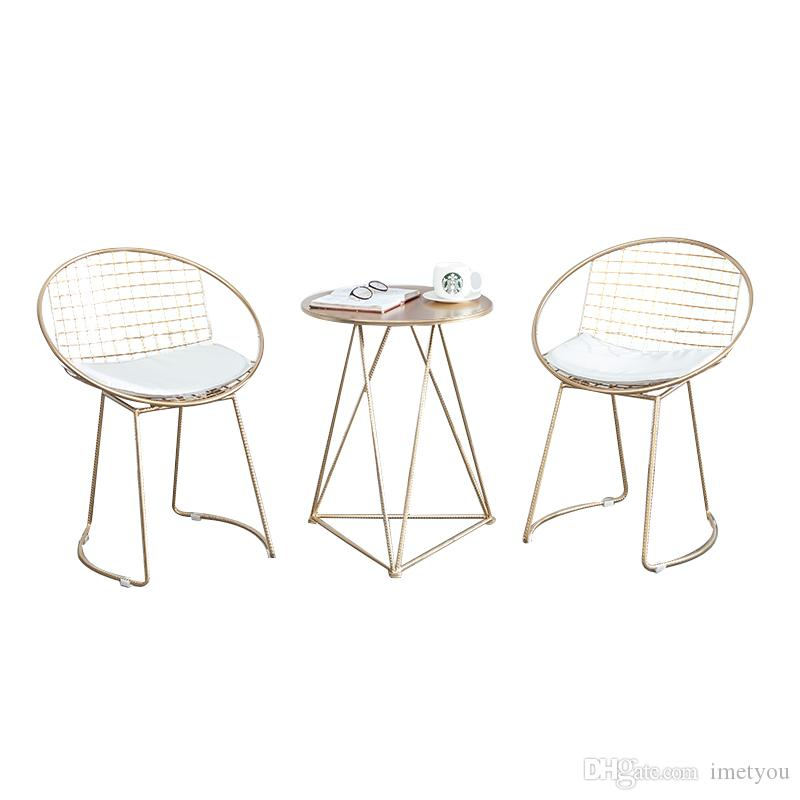 Fashion Metal steel Leisure Bar Chair iron wire chair hollow back gold dining Coffee Metal Bar chairs Set Tea Table Living Room Furniture