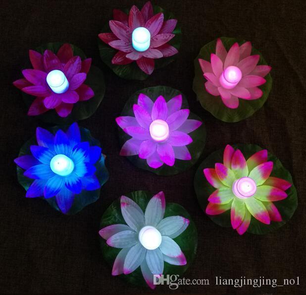 LED لوتس مصباح ملون في تغيير العائمة بركة المياه ورغبة ضوء مصابيح الفوانيس لحزب الديكور متمنيا مصباح OOA