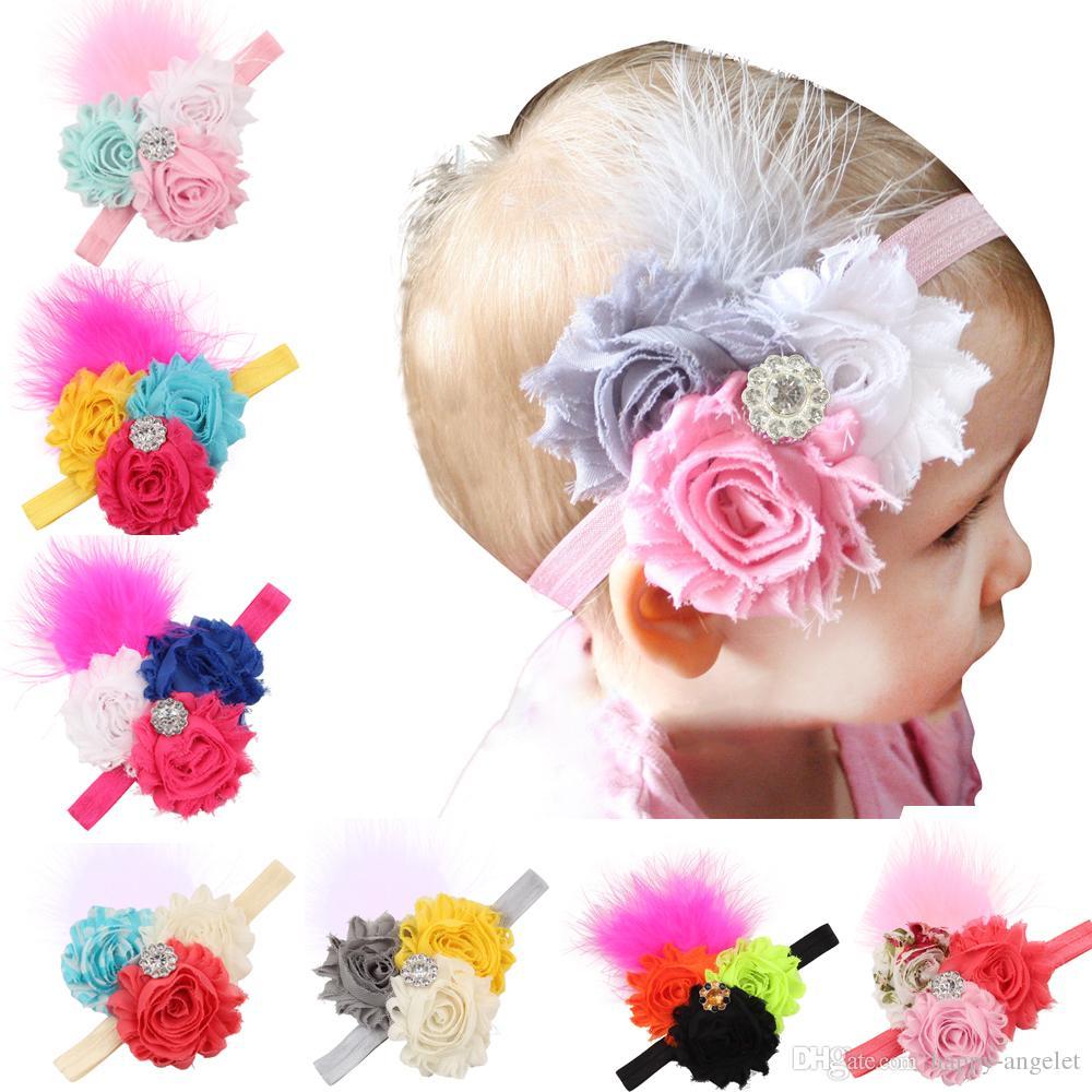 H097 Nuevo 2020 Flor Cristal hecho a mano de Headwear niños pluma Europa Niños de la niña de la venda para los niños Hairband elástico 10pcs
