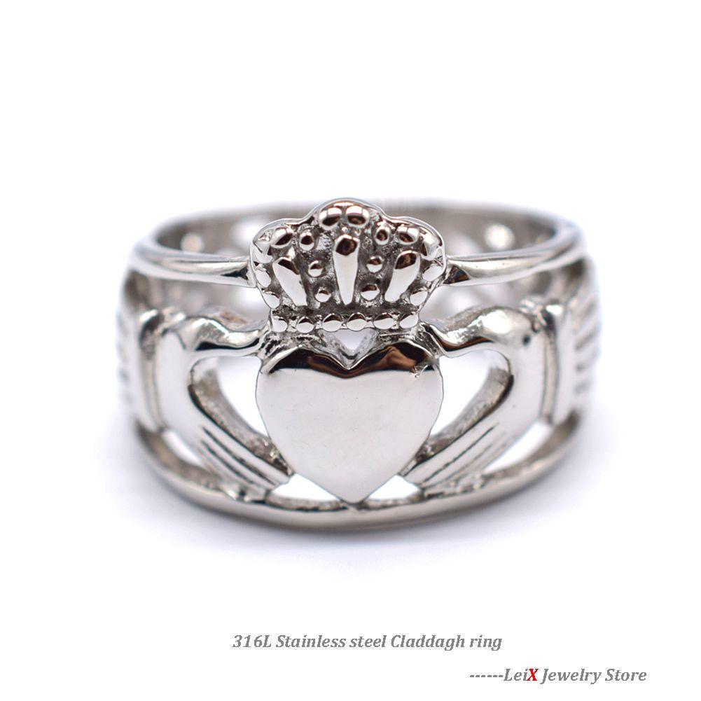 Argent sterling Coeur dans les mains Claddagh Ring Taille 6 Avec Un Anneau Boîte