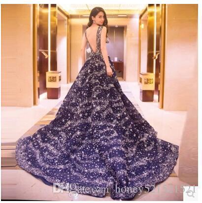 새로운 패션 여성의 럭셔리 섹시한 shinny 블링 구슬 paillette 별 민소매 파티 맥시 긴 거즈 등받이 긴 꼬리 드레스 vestido