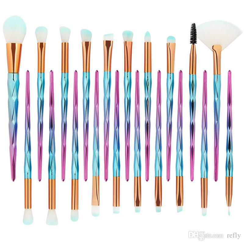 MAANGE 20 Pcs Shell Makeup Brushes Set Foundation Powder Eye Shadow Eyebrow Lip Brush Blending Make Up Brushes Tools Beauty Essentials