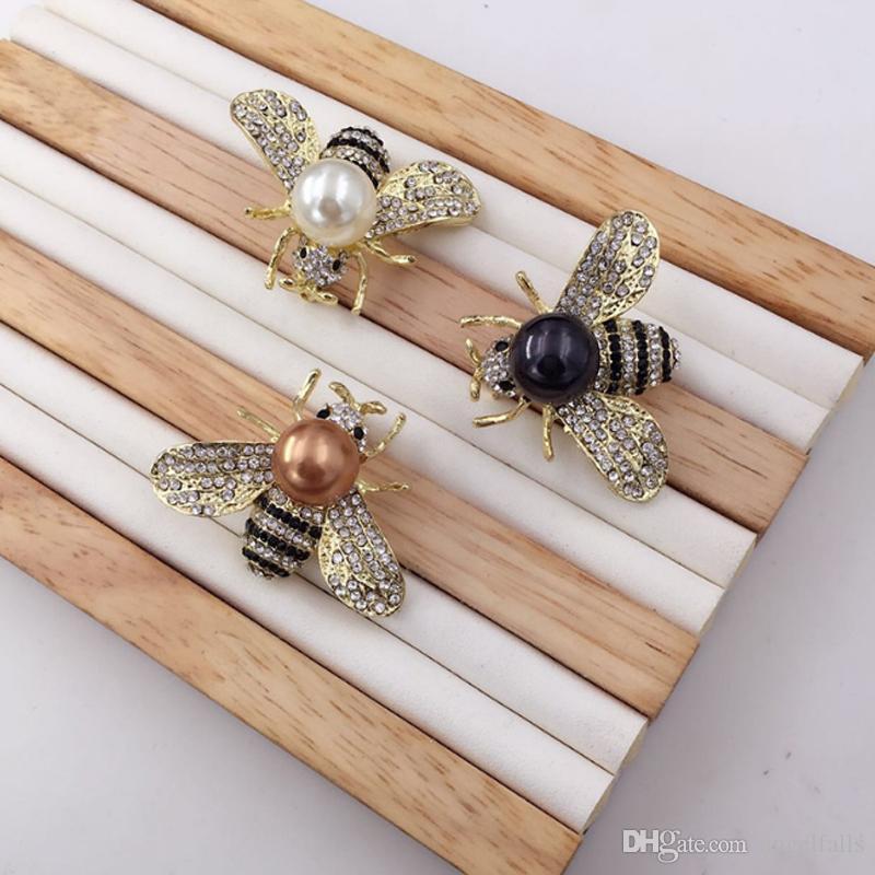 Frauen Mädchen Strass Perle Biene Brosche Insekt Biene Brosche Anzug Revers Pin Modeschmuck Zubehör für Geschenk Party
