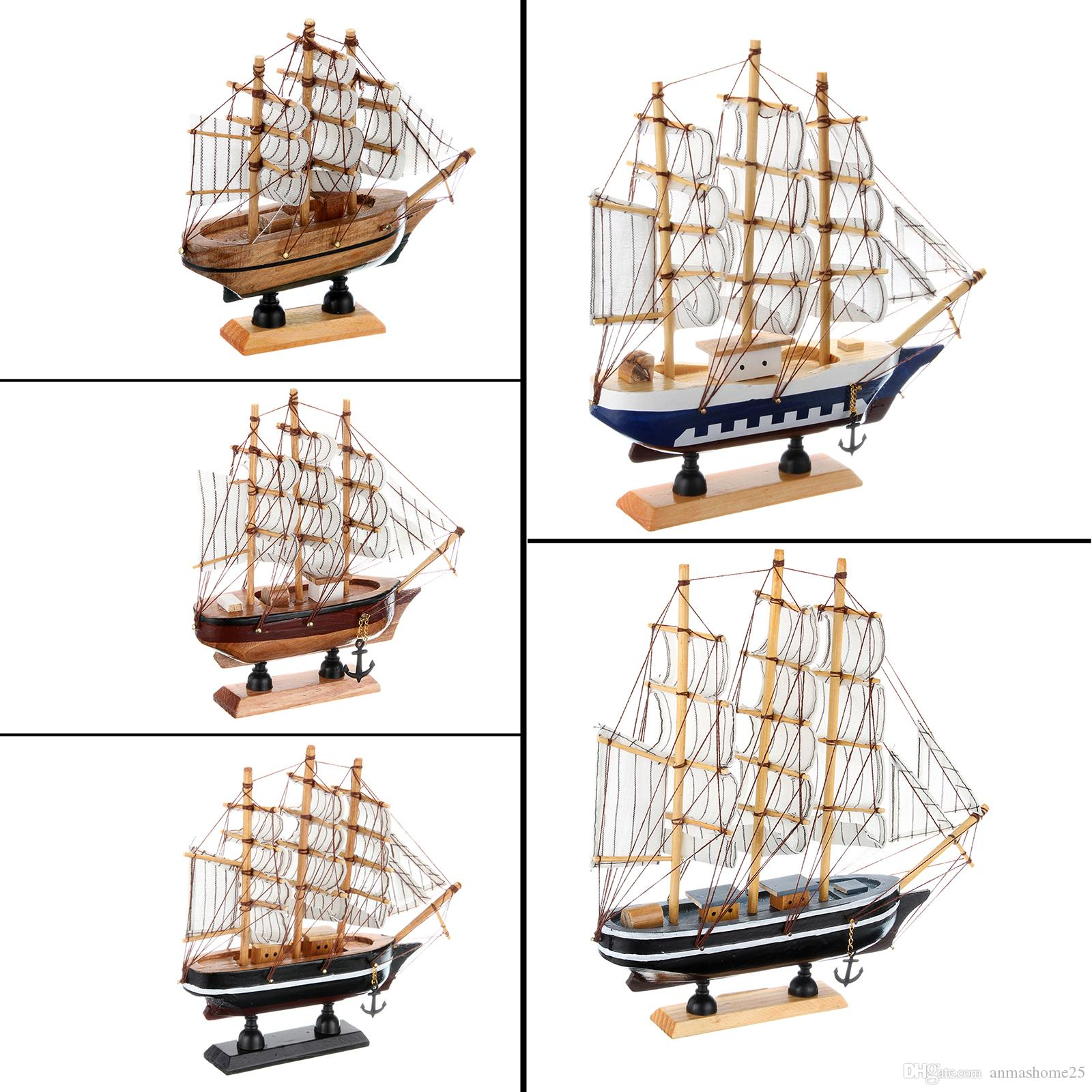 Wholesale Brand New 14cm Hand-made Pine Wooden Sailing Craft Ship Model Boys & Girls Gift or Home Decor 5 Style Random
