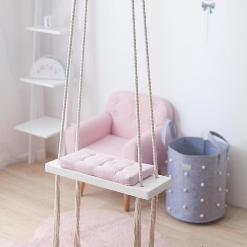 2020 Wooden Indoor Small Swing Basket Baby Swing Hanging Chair Kindergarten Baby Knited Swings Garden For Children From Herbertw 46 83 Dhgate Com