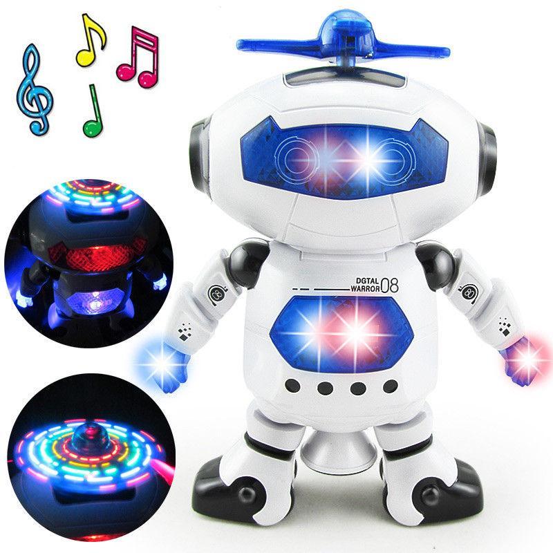 Elektronik Yürüyüş Dans Akıllı Alan Robot Çocuklar Serin Astronot Modeli Müzik Çocuk Işık Oyuncaklar Noel Hediyesi 360 Dönen
