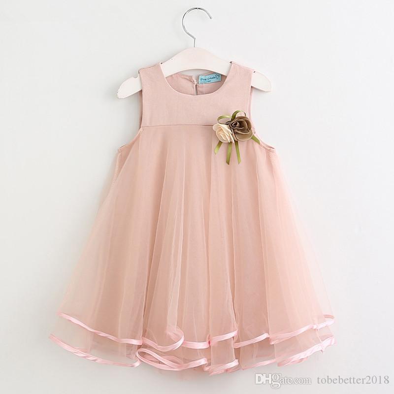 Kleinkind Baby Sweet Girl Chiffon Kleider Ärmel Drape Kleid mit Brosche-Sommer-Kleid für Hochzeit, Party