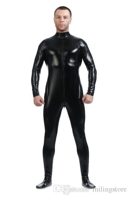 Sexy Maschio Front Zipper METALLIZZATO Wet Look Lucido Lycra Seconda Pelle Spandex Full Body Catsuit Tuta Suit Fetish Costume