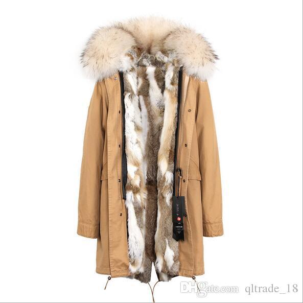marchio JAZZEVAR bianca di pelliccia di procione signore assetto neve cappotti grigi bianco fodera in pelliccia di coniglio lunghi neri parka